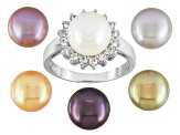 Cultured Freshwater Pearl And White Topaz Rhodium Over Silver Ring Set