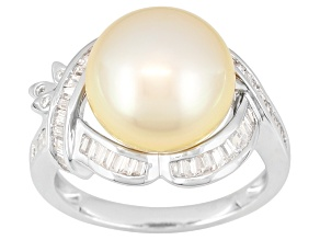 Golden Cultured South Sea Pearl With Zircon Rhodium Over Silver Ring