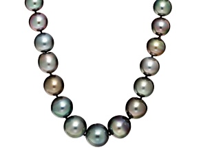 Black Cultured Tahitian Pearl 14k Yellow Gold Strand Necklace