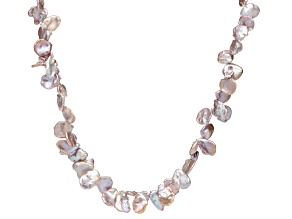 Lavender Cultured Keshi Freshwater Pearl Rhodium Over Silver Necklace
