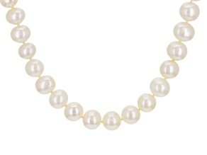White Cultured Freshwater Pearl 14k Yellow Gold Strand Necklace
