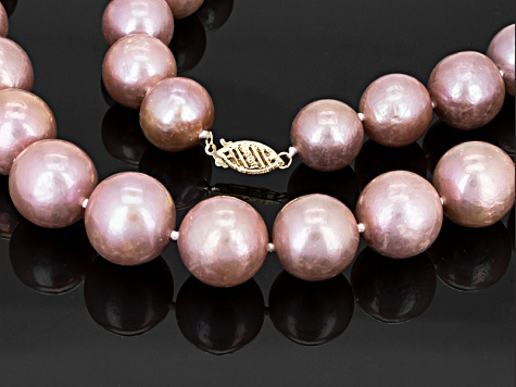 Lavender Cultured Freshwater Pearl 14k Yellow Gold Strand Necklace