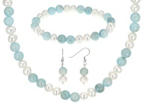 white cultured freshwater pearl, aquamarine silver jewelry set