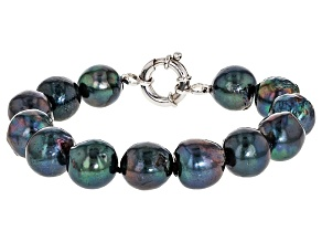 Black Cultured Freshwater Pearl Rhodium Over Silver Bracelet 8 inch