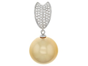 Golden Cultured South Sea Pearl, White Zircon Silver Enhancer