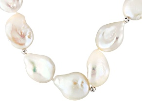Cultured Freshwater Pearl, Diamond Simulant, Silver Necklace