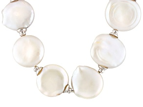Coin White Cultured Freshwater Pearl, Diamond Simulant Silver Necklace