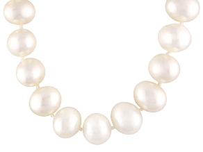 Cultured Freshwater Pearl, Diamond Simulant Rose Gold Necklace 18 inch
