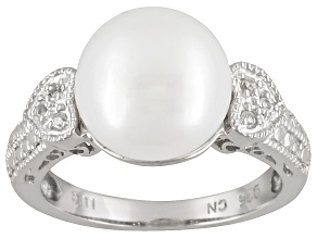 11-12mm Cultured Freshwater Grande Pearl And White Topaz Sterling Silver Heart Design Ring