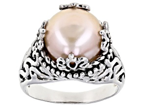 10.5MM GRANDE NATURAL PEACH CULTURED FRESHWATER PEARL STERLING SILVER RING