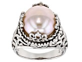 Grande Pink Cultured Freshwater Pearl Sterling Silver Scalloped Ring