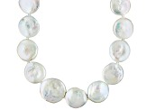 Cultured Freshwater Pearl Rhodium Over Sterling Silver Necklace 16-18mm