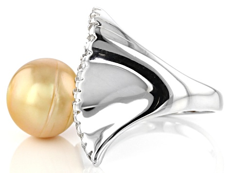 Golden Cultured South Sea Pearl, White Topaz Rhodium Over Silver Ring