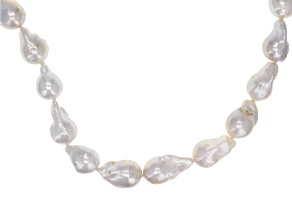 Baroque White Cultured Freshwater Pearl Silver Strand Necklace 20 inch