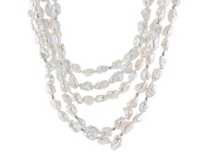 White Cultured Freshwater Pearl Silver Multi-Strand Necklace 18 inch