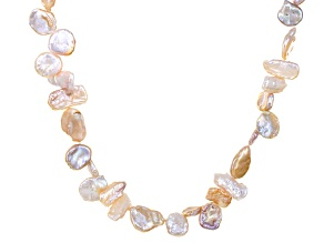 Coin, Keshi, Peach Cultured Freshwater Pearl Endless Strand Necklace