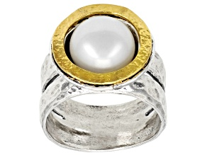 White Cultured Freshwater Pearl Sterling Silver With 14k Gold Over Accent Ring