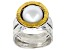 White Cultured Freshwater Pearl Sterling Silver With 14k Yellow Gold Over Accent Ring