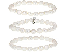 White Cultured Freshwater Pearl Sterling Silver Stretch Bracelet Set of 3