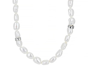 White Cultured Freshwater Pearl Sterling Silver 32 Inch Endless Strand Necklace