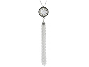 White South Sea Mother-of-Pearl Sterling Silver 18 Inch Tassel Necklace