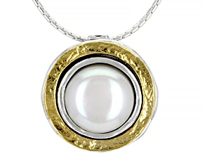 White Cultured Freshwater Pearl Sterling Silver With 14k Gold Over Accent Necklace