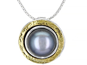 Silver Cultured Freshwater Pearl Sterling Silver With 14k Yellow Gold Over Accent Necklace