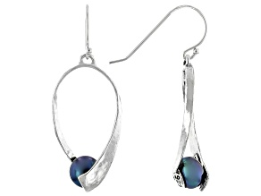 Black Cultured Freshwater Pearl Sterling Silver Drop Earrings
