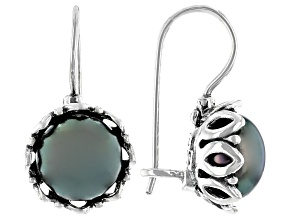 Black Cultured Freshwater Pearl Sterling Silver Earrings