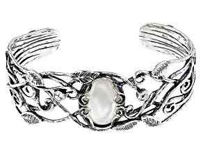 White South Sea Mother-of-Pearl & White Topaz Sterling Silver Bangle