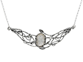White South Sea Mother-of-Pearl & White Topaz Sterling Silver 18 Inch Necklace