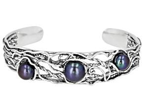 Black Cultured Freshwater Pearl Sterling Silver Cuff Bracelet