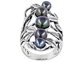 Black Cultured Freshwater Pearl Sterling Silver Ring