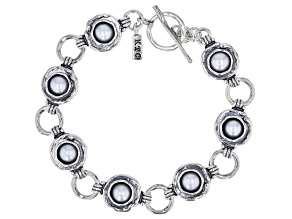 White Cultured Freshwater Pearl Sterling Silver 7 Inch Bracelet