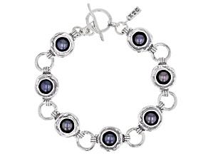 Black Cultured Freshwater Pearl Sterling Silver 7 Inch Bracelet