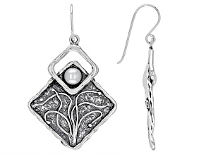 White Cultured Freshwater Pearl Sterling Silver Earrings