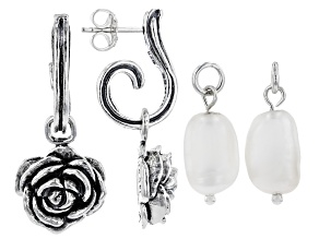 White Cultured Freshwater Pearl & Rose Sterling Silver Interchangeable Earrings.