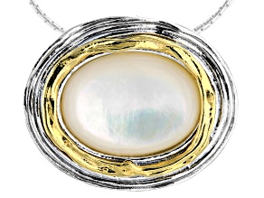 White South Sea Mother-of-Pearl Sterling Silver With 14k Yellow Gold Over Accent 18 Inch Necklace