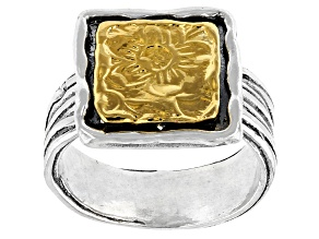 Sterling Silver With 14k Yellow Gold Over Accent Ring