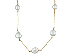 White Cultured South Sea Pearl 14k Yellow Gold Tin Cup Necklace 8-11mm