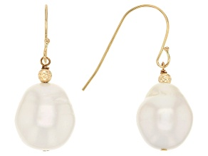 Cultured South Sea Pearl 14k Yellow Gold Dangle Earrings 8-11mm