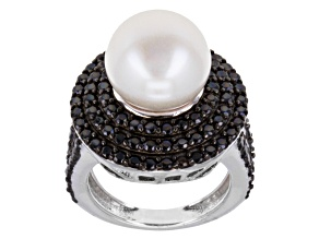 White Cultured Freshwater Pearl, Black Spinel Silver Ring