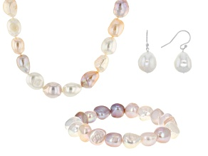 Multi-Color Cultured Freshwater Pearl Sterling Silver Jewelry Set