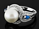 White Cultured Freshwater Pearl, White Zircon, Kyanite Silver Ring