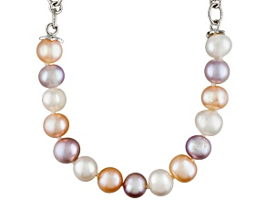 Multi-Color Cultured Freshwater Pearl Silver Center Station Necklace
