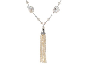 White Cultured Freshwater Pearl Rhodium Over Silver Tassel Necklace