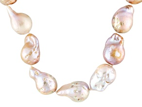 Natural Multi-Pink Cultured Freshwater Pearl Silver Strand Necklace