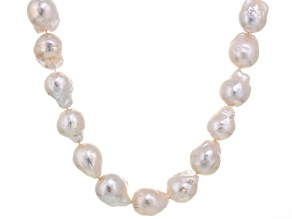 Baroque White Cultured Freshwater Pearl Silver Strand Necklace 24 inch