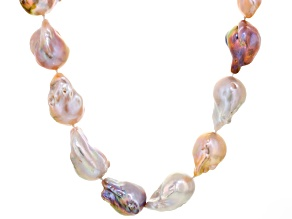 Multi-Color Cultured Freshwater Pearl Sterling Silver Strand Necklace