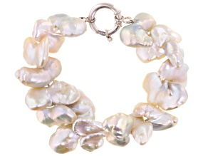 White Butterfly Cultured Freshwater Pearl Silver Line Bracelet 9 inch